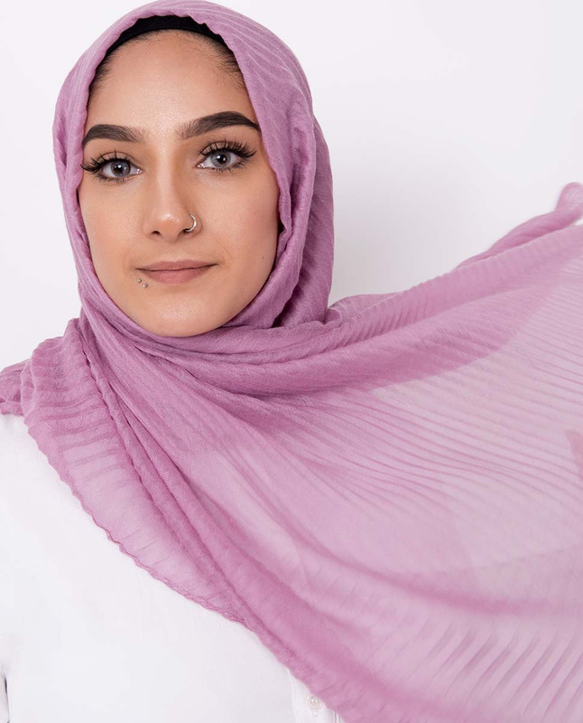 Opera Mauve Cotton Mix Crunchy Scarf