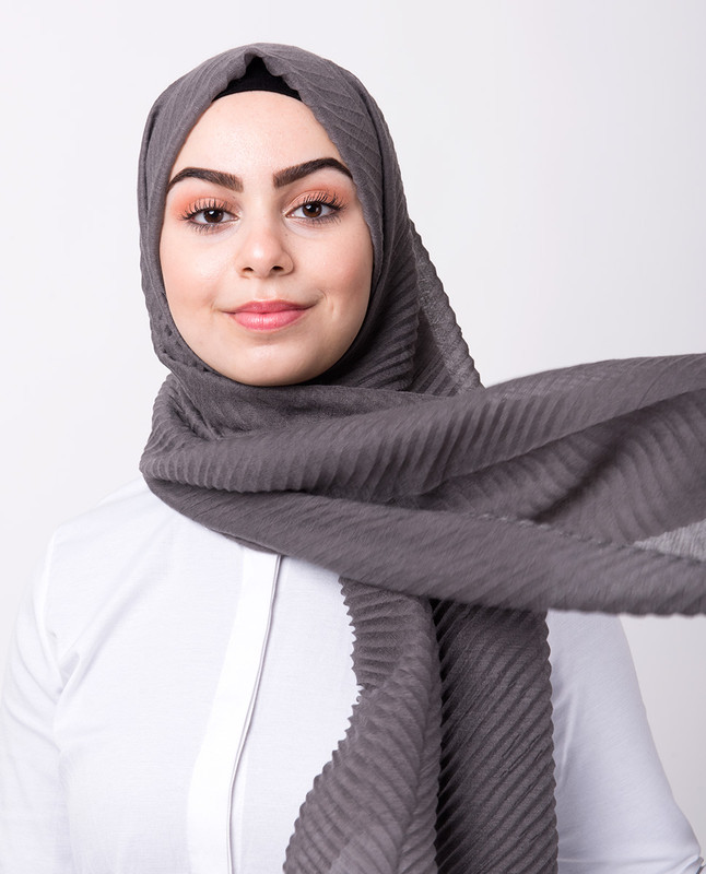 Grey Cotton Mix Crunchy Scarf