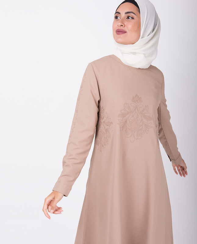 Beige Handkerchief Embroidered Midi Dress