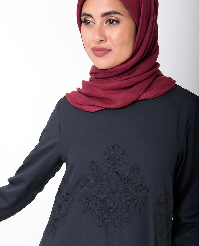 Navy Handkerchief Embroidered Midi Dress