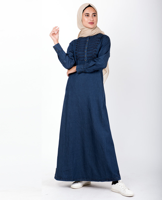 Denim Braided Military Jilbab