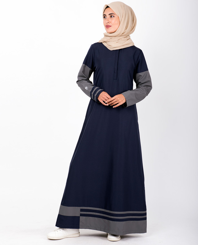 Navy & Grey Striped Hem Jilbab