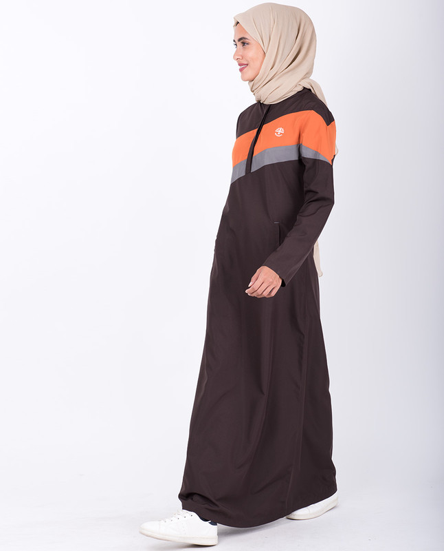 Chocolate Brown Diagonal Stripe Jilbab