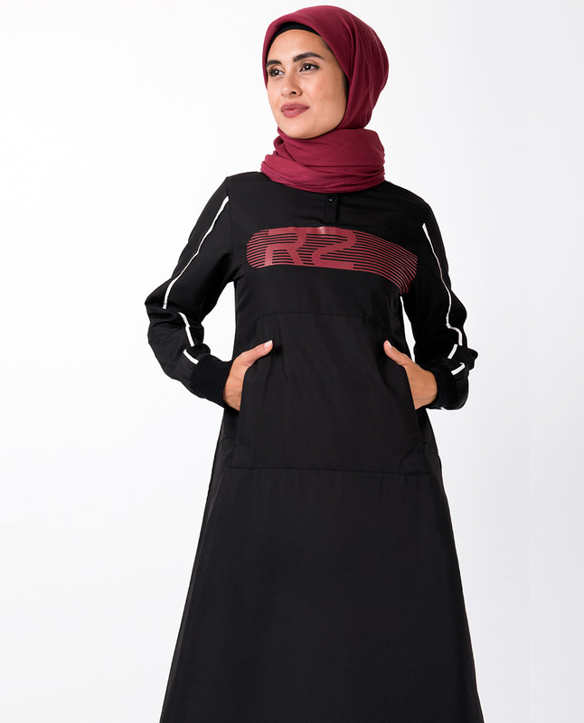 Black With Red Retro Print Jilbab