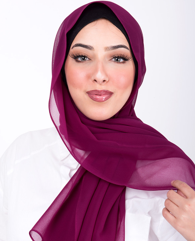 Plum Poly Georgette Scarf