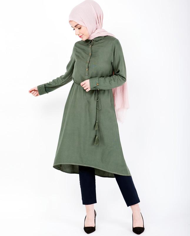 Green Tie Up A Line Midi Dress