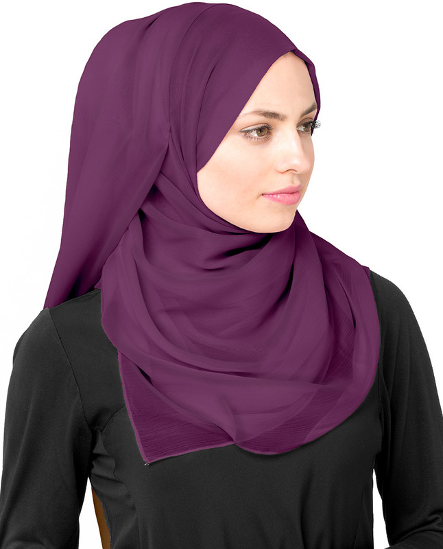 Amaranth Purple Poly Chiffon Scarf