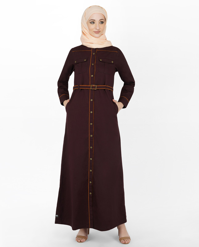 Maroon & Orange Full Front Open Jilbab