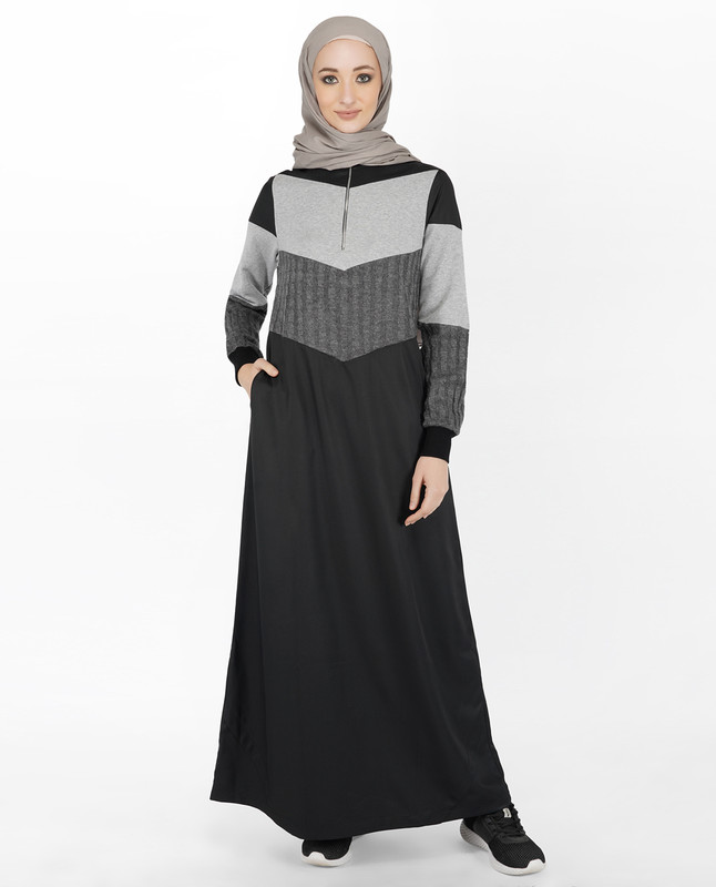 Monochrome Knit Mix Jilbab