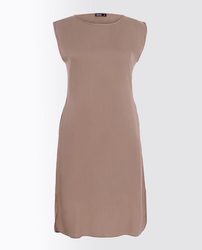 Natural Beige Rayon Slip Dress