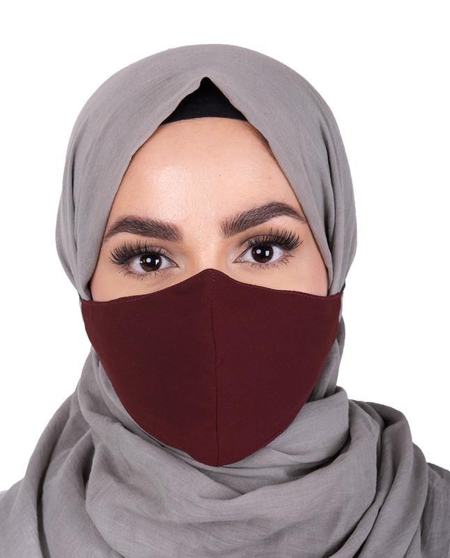 Rum Raisin Hijab Friendly Button Fabric Mask