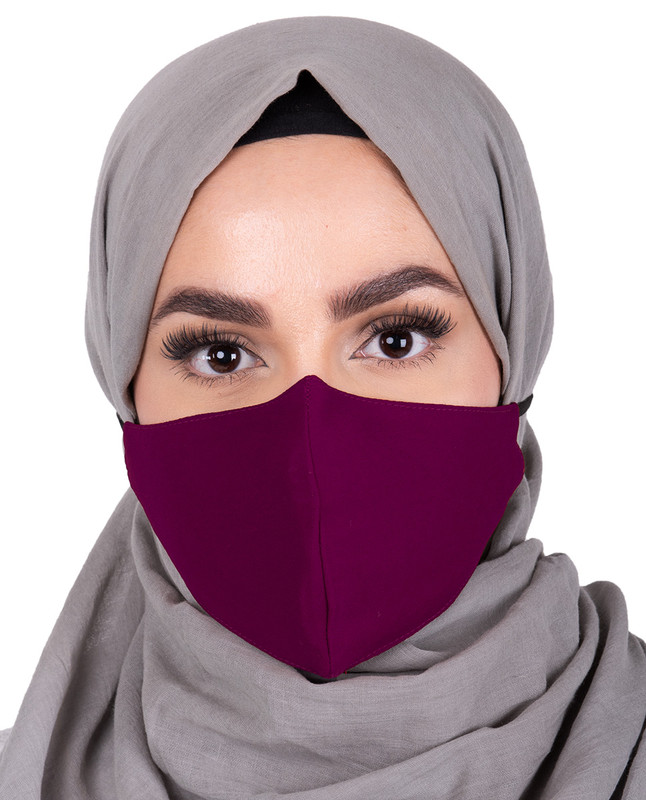 Amaranth Hijab Friendly Button Fabric Mask