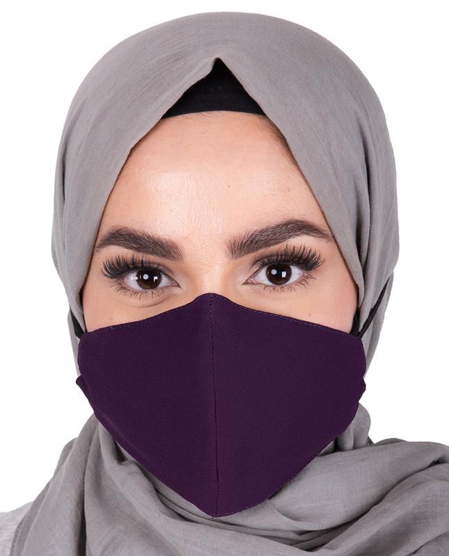 Plum Hijab Friendly Button Fabric Mask