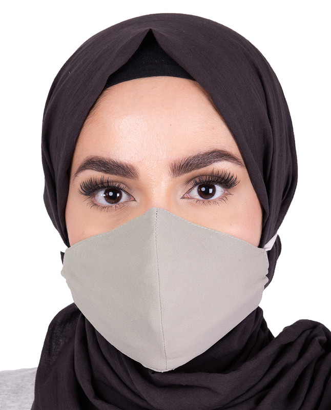 Charcoal Grey Hijab Friendly Toggle Fabric Mask