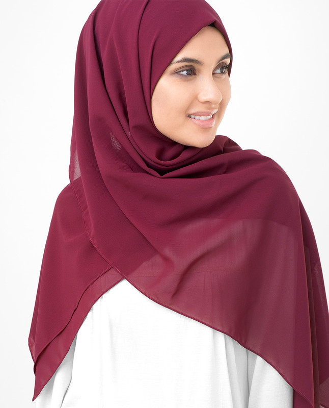 Tibetan Red Poly Georgette Scarf