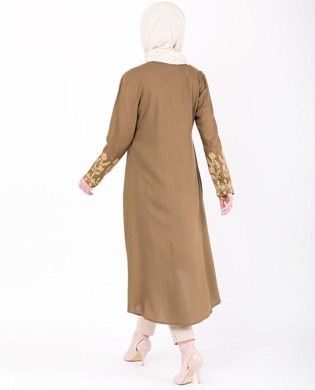 High Low Mustard Embroidery Midi Dress