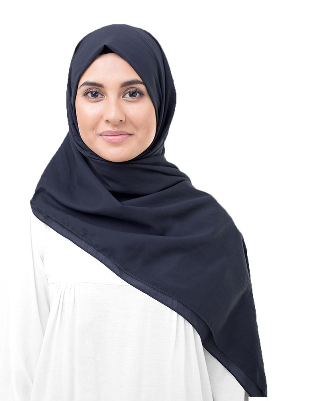 Peacoat Cotton Voile Scarf