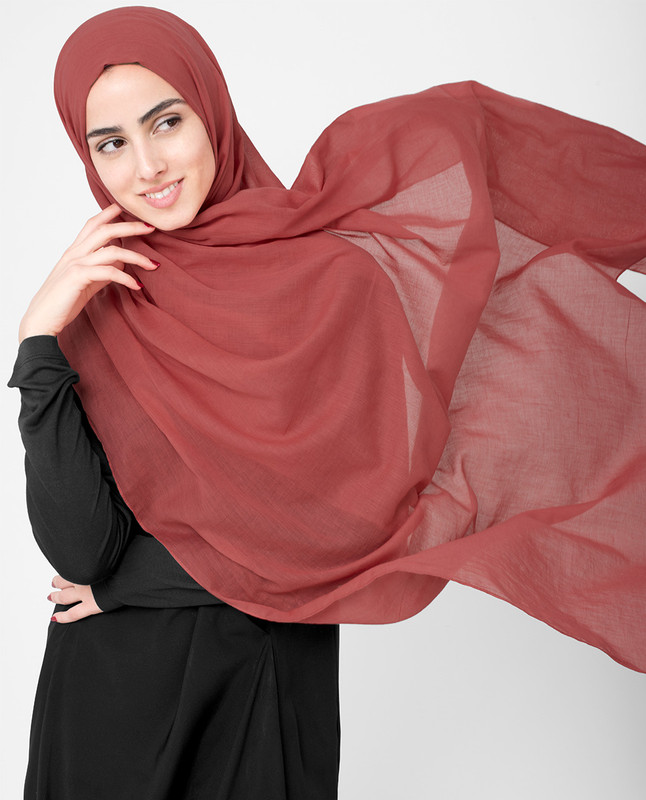 Red Clay Cotton Voile Scarf