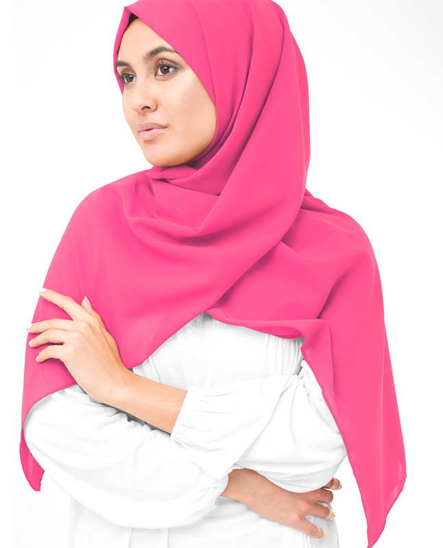 Pink Carnation Poly Georgette Scarf