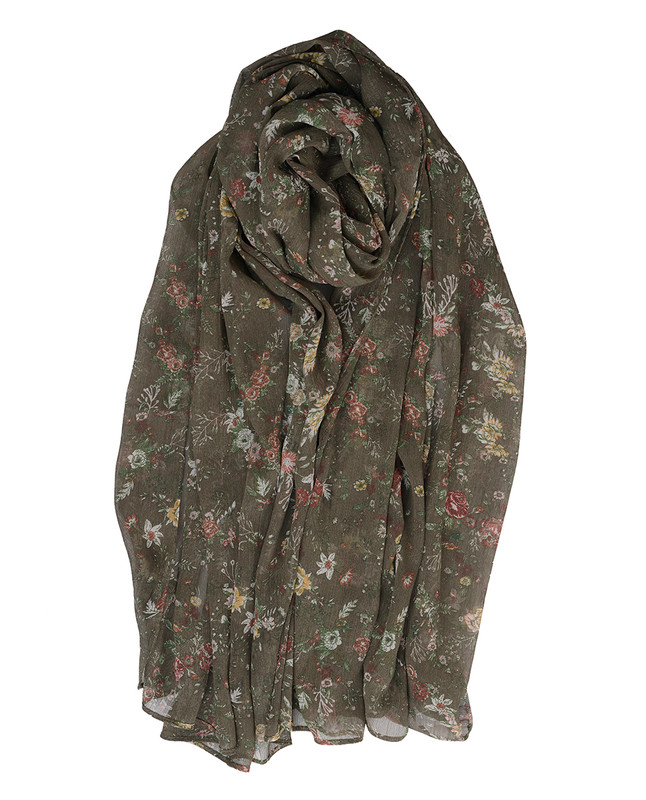 Piquant Green Floral Chiffon Scarf