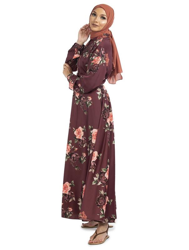 Maroon Floral Maxi Dress