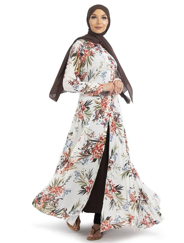 White Floral Pleated Kimono