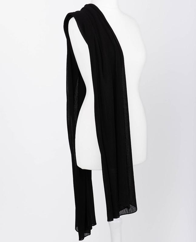 Jet Black Premium Pleated Chiffon Hijab