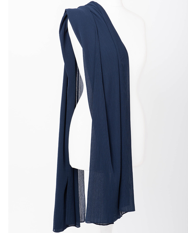 Limoges Blue Premium Pleated Chiffon Hijab
