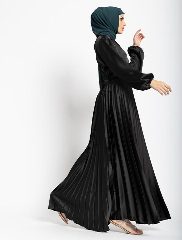 Black Satin Pleat Maxi