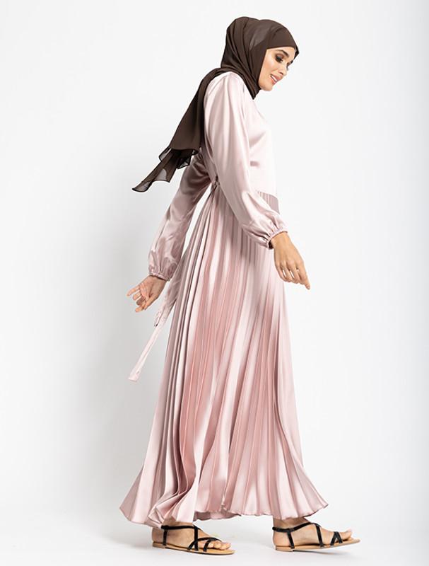 Pink Satin Pleat Maxi