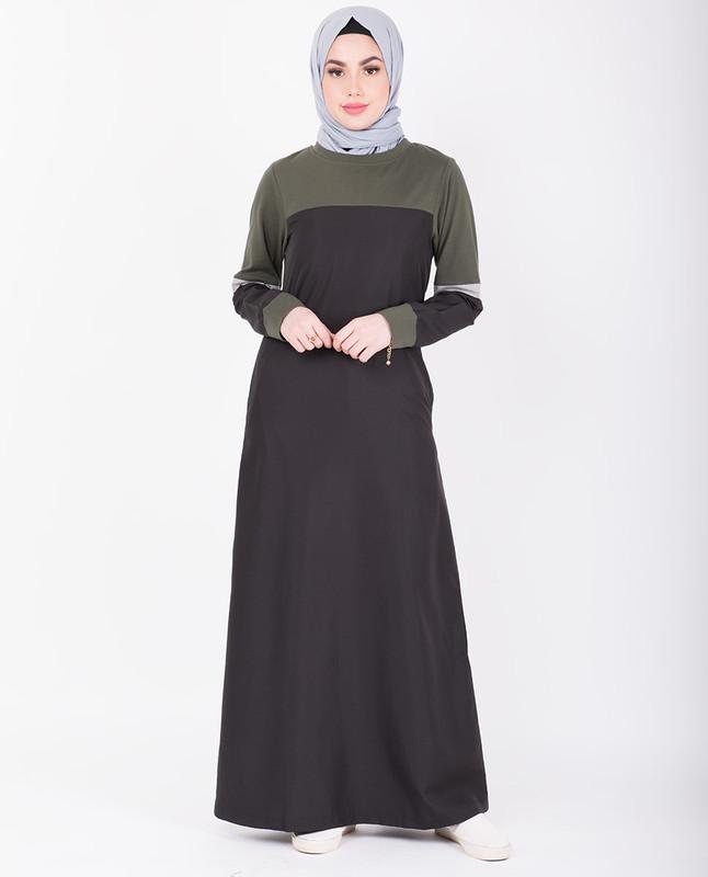 Black & Seaweed Green Contrast Jersey Jilbab