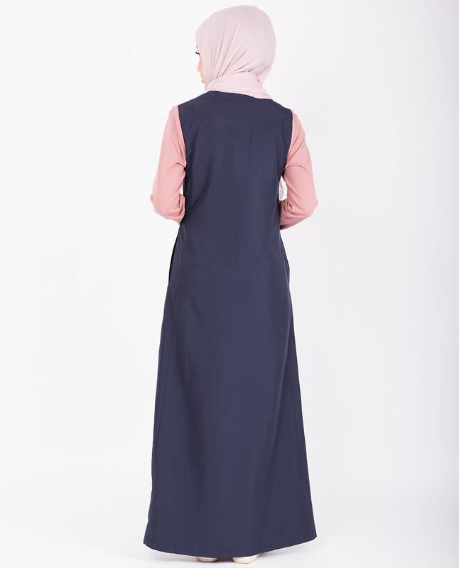 Grey & Pink Retro Stripe Print Jilbab
