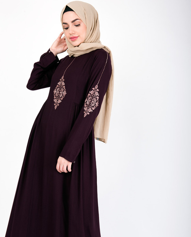 Maroon Abaya with Rose Gold Diamond Embroidery