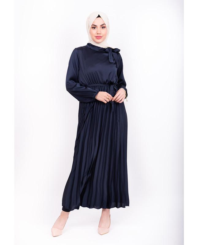 Satin Pleated Maxi Dress - Navy