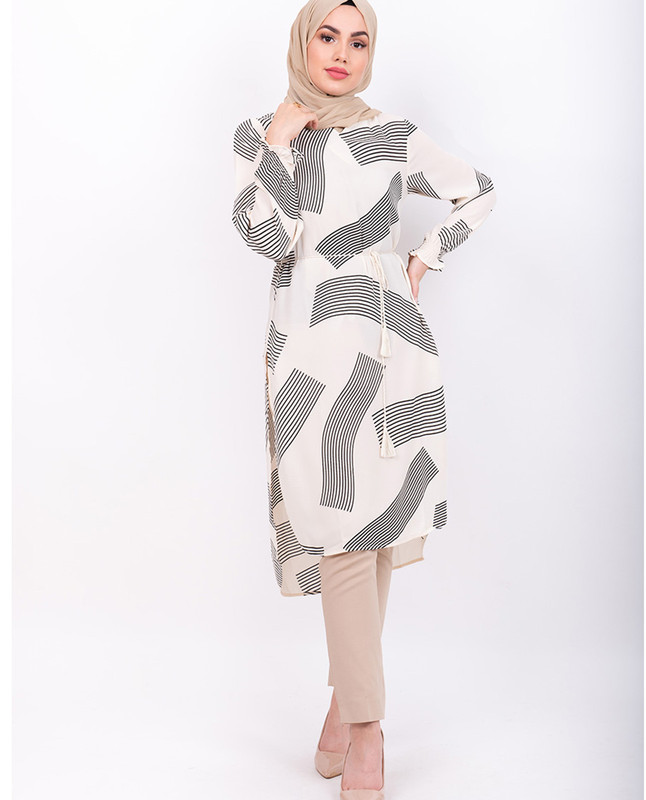 White Abstract Print Midi Dress