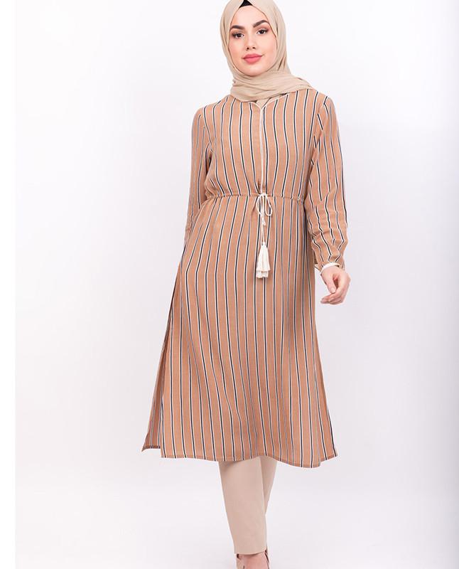 Warm Beige Striper Midi Dress