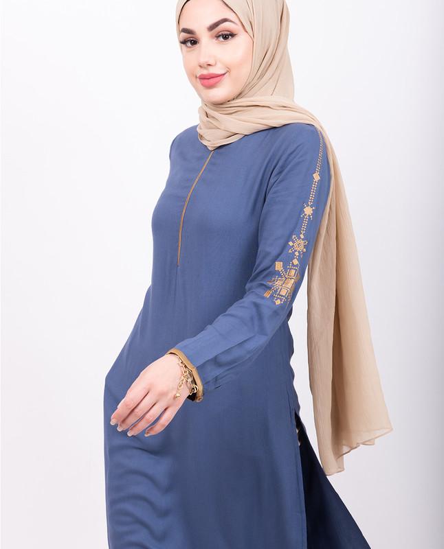 Sky Blue Embroidery Midi Dress