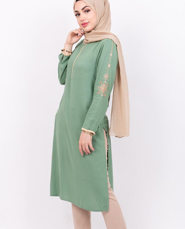 Green Embroidery Midi Dress