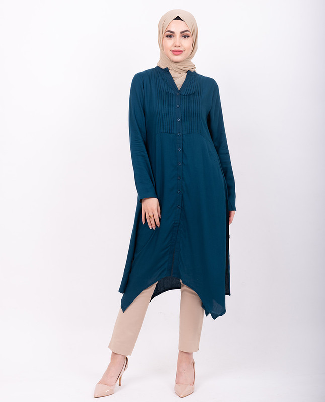 Teal Pleated High Low Shirt Dress