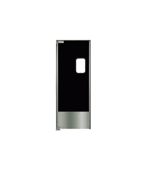 "Aluminum Swing Door with Black Laminate: Single Panel, Left Side Hinge, 18"" Stainless Steel Impact Panel, 36"" x 84"""