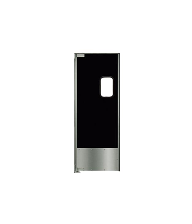 "Aluminum Swing Door with Black Laminate: Single Panel, Left Side Hinge, 18"" Stainless Steel Impact Panel, 36"" x 84"""