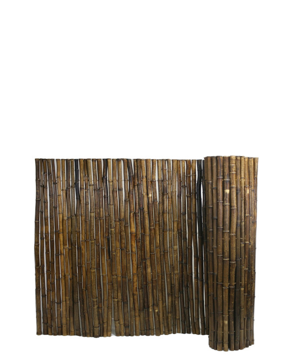 """Caramel Brown Rolled Bamboo Fence 1"""" D X 3' H X 8' L"""