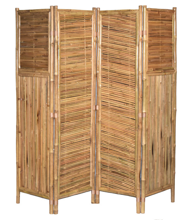 Bamboo Screen 4 Panel, Diagonal Pattern