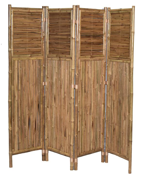 Bamboo Screen 4 Panel, Cross Pattern