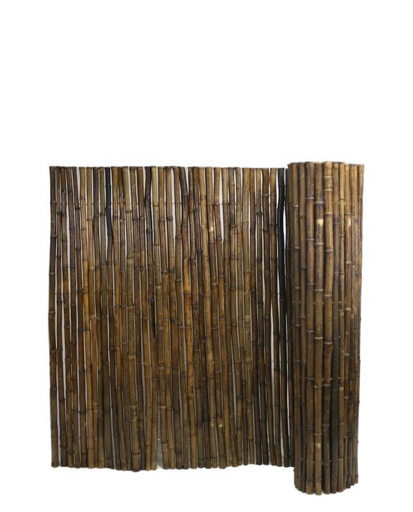 """Caramel Brown Rolled Bamboo Fence 1"""" D X 4' H X 8' L"""