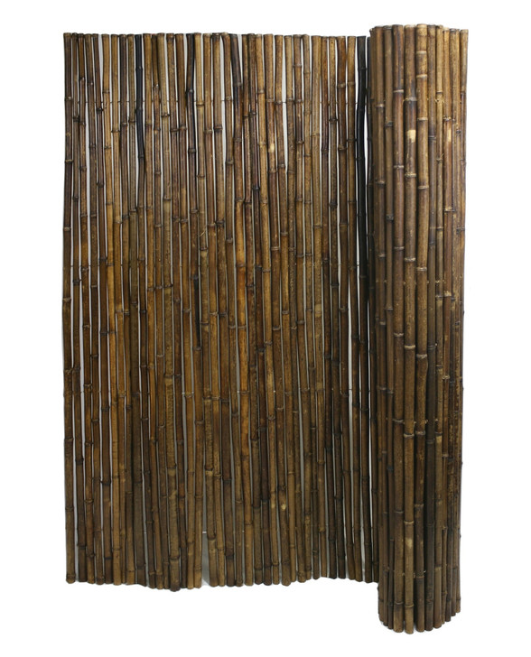 """Caramel Brown Rolled Bamboo Fence 1"""" D X 8' H X 8' L"""
