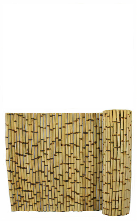 """Natural Burnt Bamboo Fence 1"""" D x 3' H x 8' L"""