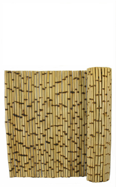 """Natural Burnt Bamboo Fence 1"""" D x 4' H x 8' L"""