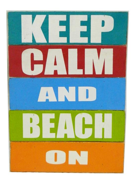 "Retro Board Sign - "" Keep Calm and Beach On ..."""