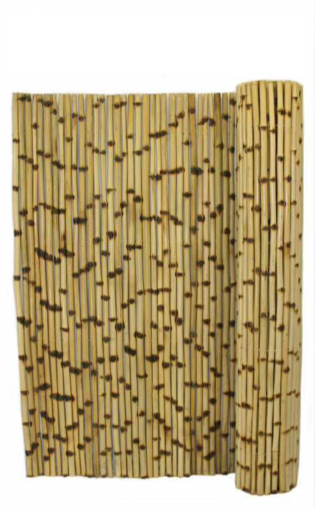"""Natural Burnt Bamboo Fence 1"""" D x 6' H x 8' L"""